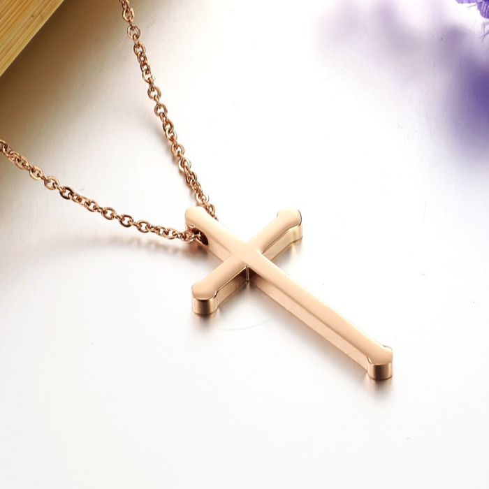 Stainless steel 숙 녀 women girl design 패션 unique (high) 저 (폴란드어 rose gold cross 대 한 necklace