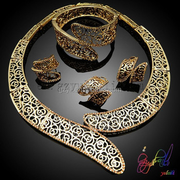High end fashion jewelry set necklace fake gold jewelry necklace