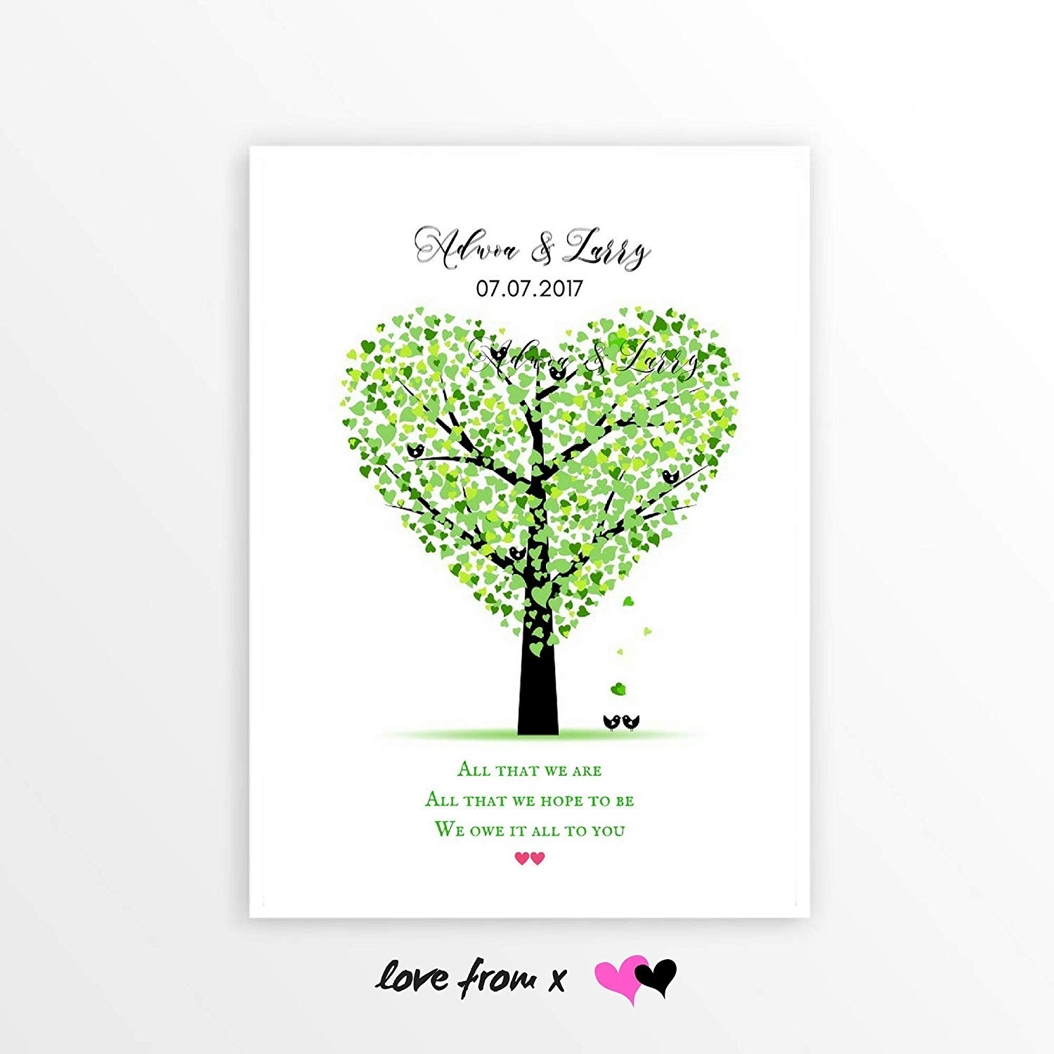 Personalized Gift: 'ALL THAT WE ARE WE OWE IT TO YOU', Anniversary Gift For Mom Dad, Gift For Parents, Tree Of Life Art Print   Choose Dates, Names 8x10