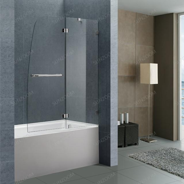 Sunzoom Folding Bathtub Glass Shower Screen Frameless Tempered Glass Shower  Door