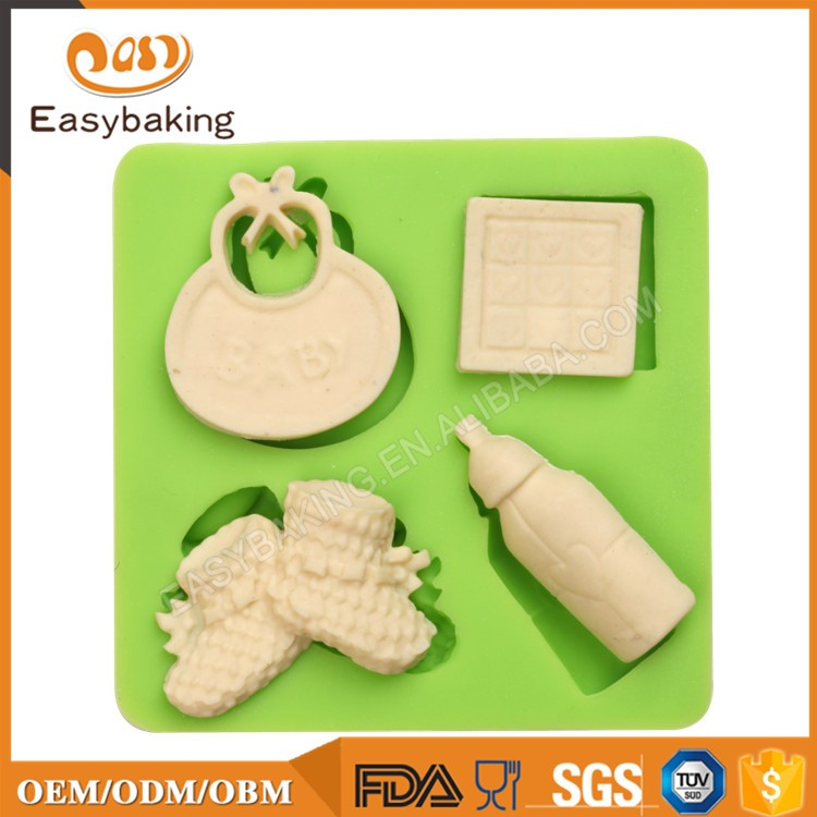 ES-1212 Baby Things 4 Cavities Silicone Mold for Fondant Cake Decorating