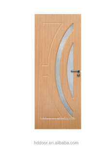 Hangzhou Modern New designs Bathroom door hollow core mdf frosted glass door cheap interior french doors