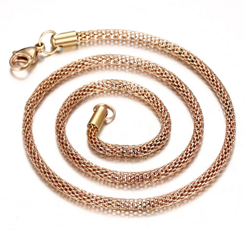 Greek Pattern Woman Love Roll Chain Necklace Jewelry Rose Gold