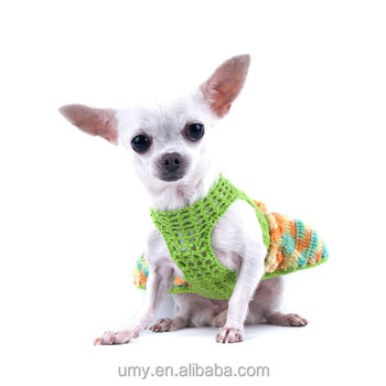 Sexy Crochet Dog Dress Mint Green Teacup Chihuahua Clothes With