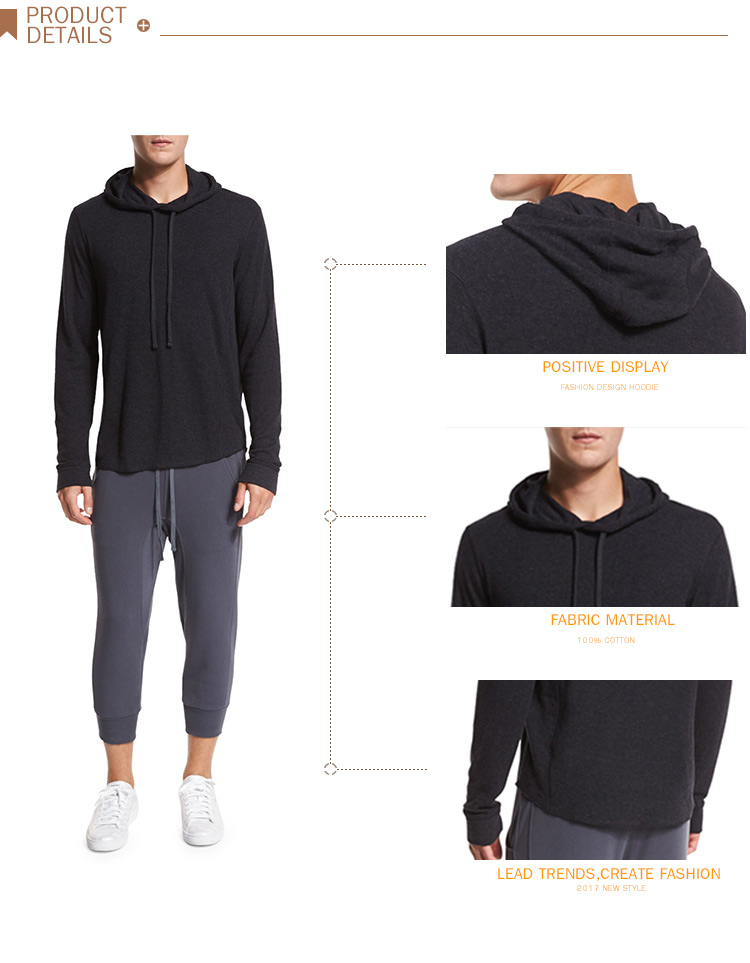 4baf1ca9 Wholesale Cool Thin Sweatshirts Mens Plain Black Pullover Hoodie ...