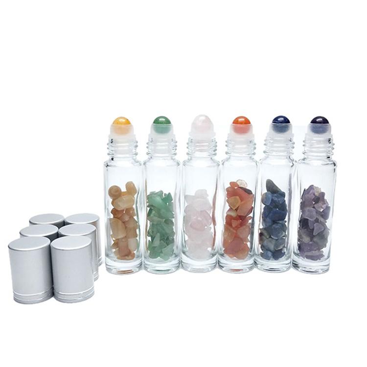 10 ml clear gemstone crystal roller flessen