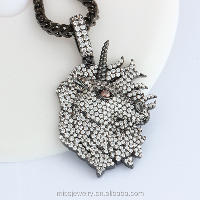 Customize Gold Urban Jewelry 925 Silver CZ Micro Pave Bling Diamond Hip Hop Necklace Pendant