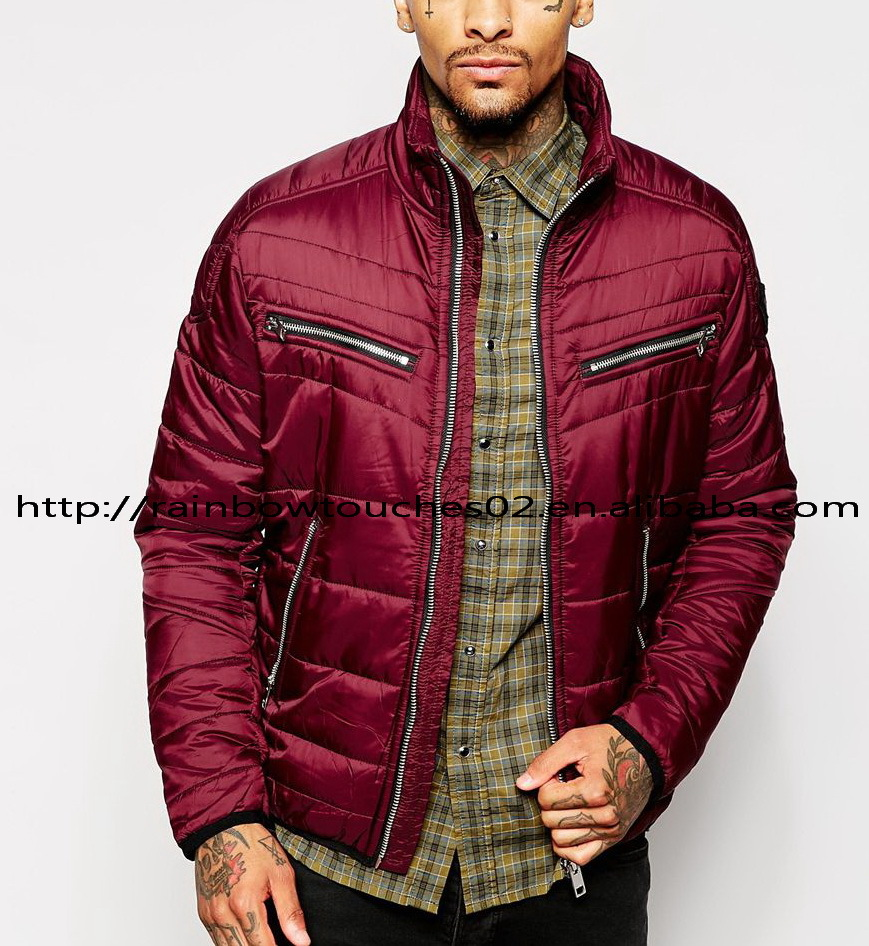 OEM custom high quality red mens zipper pocket Quilted down jacket