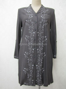 dark grey cotton front embroidery long kurti