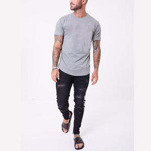 Mens Long Ring-Spun Cotton T-Shirts Lightweight Muscle Tee Shirts
