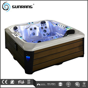 Sunrans Acrylic Freestanding center massage conner installation whirlpool glass bathtub aquacubic spa for 5 person SR805A
