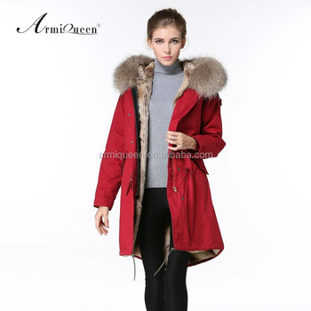 2017 Hot Sale Korean Style Long Coat Womens Winter Red Parka Fur ...
