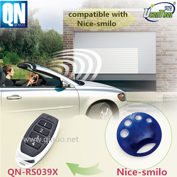 electronic key door lock RF remote control QN-RS039X compatible with Nice Smilo remote rolling code 433.92Mhz