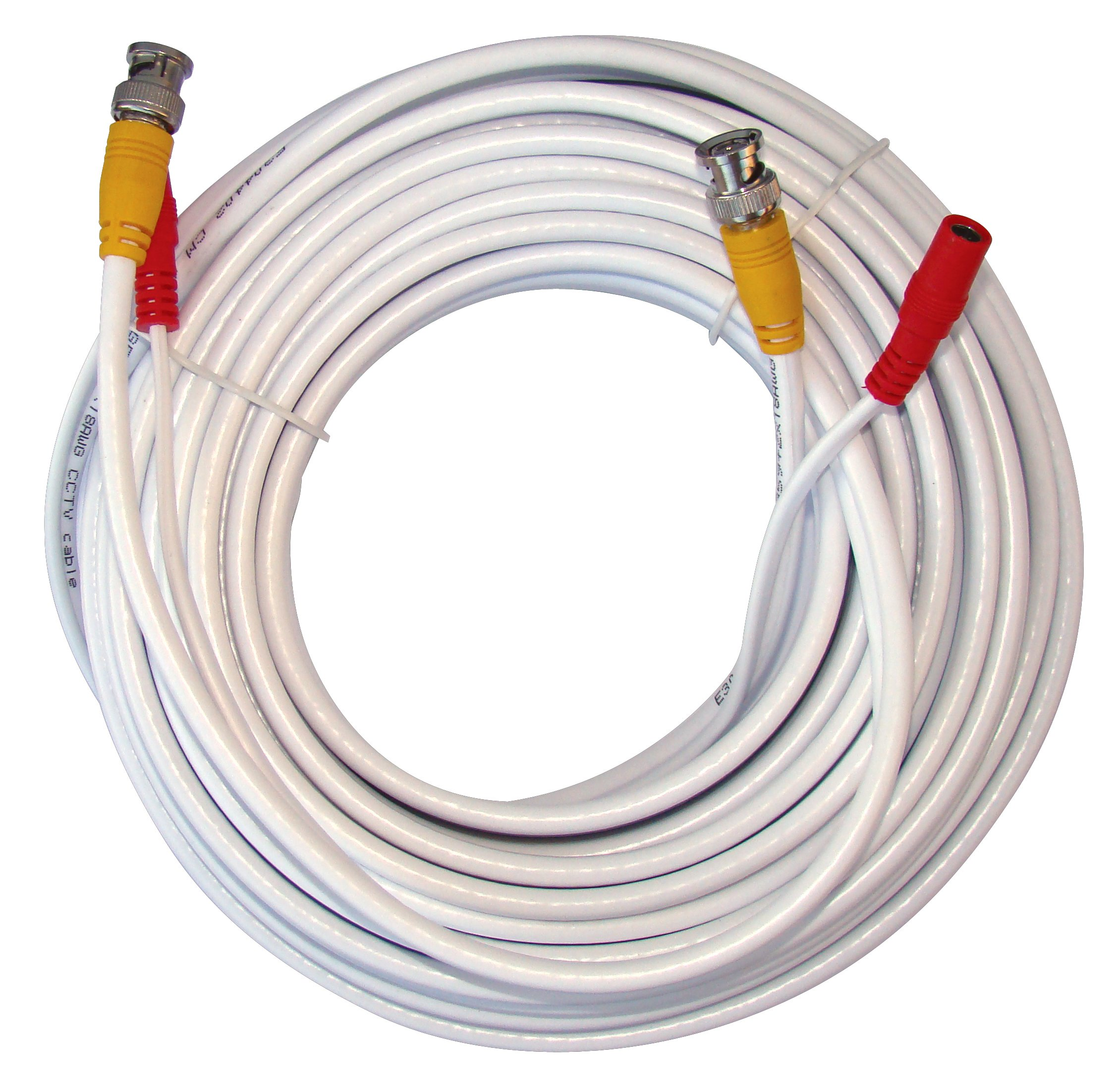 Q-See QSVRG100 UL Rated E475392 Shielded Video & Power 100 Ft BNC Male Cable with 2-Female Connectors | Easy Installation, Weather Resistant, Strong UL Approved Cable | White