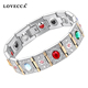 New arrival men and women vintage luxury gemstone wide cuff bracelet with magnetic energy health care