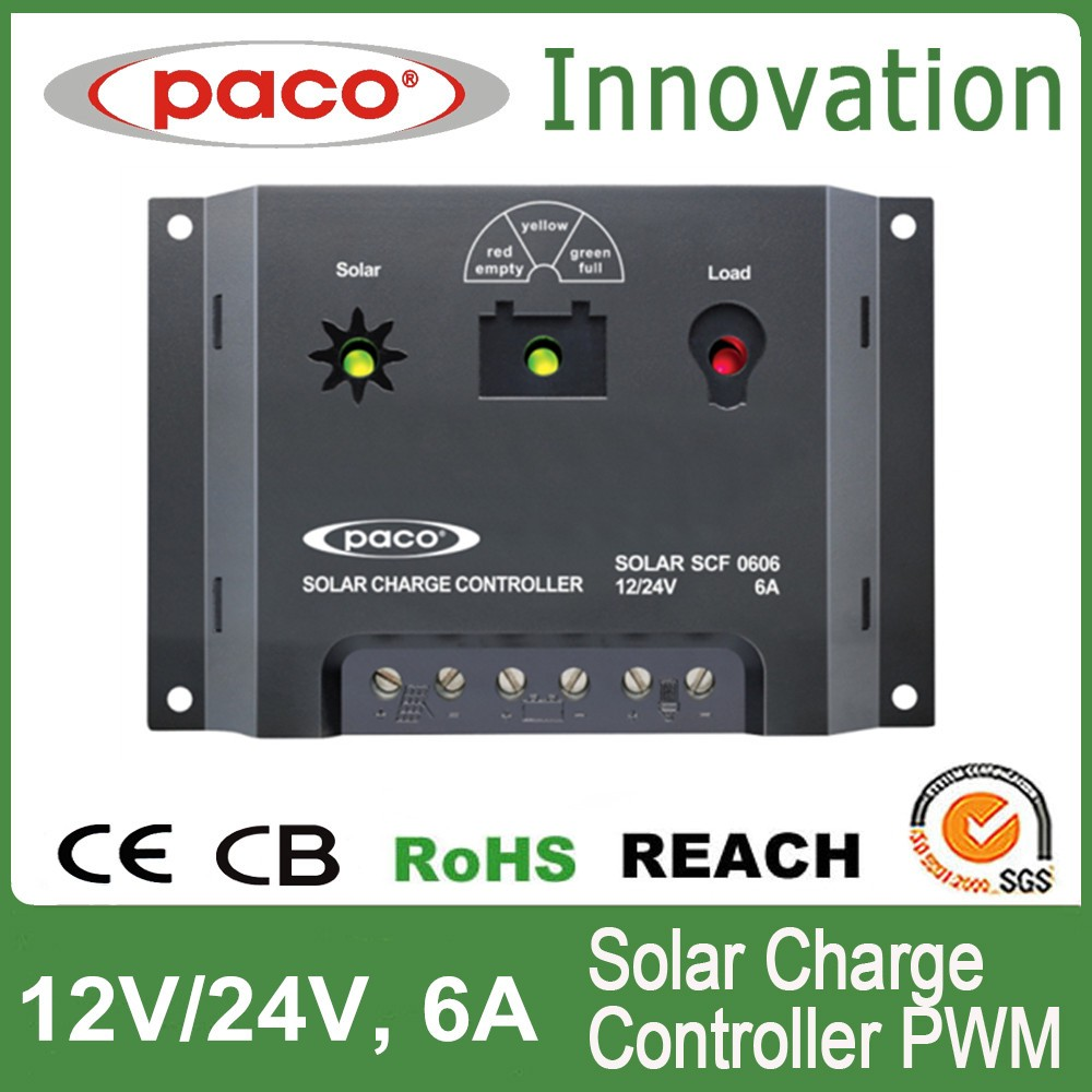 LED Display PWM Solar Panle Charge Controller 12V 6A