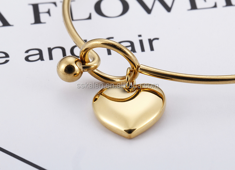 Hot Sell Stainless Steel 18K Gold Plated Heart Bangle For Women Jewelry