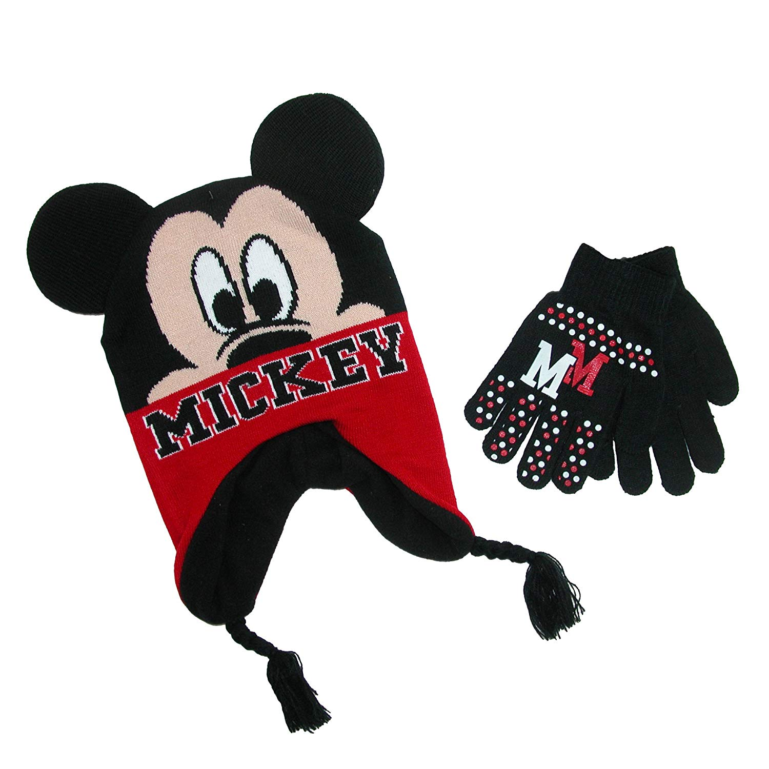 a13ee6e0b7d Get Quotations · Mickey Mouse Youth Boys Beanie Hat and Gloves Set (Little  Kid Big Kid)