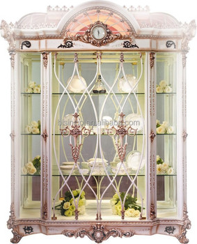 Luxury French Baroque Living Room Furniture Display Cabinet/Retro Wood  Carving Glass Display Cabinet, Part 78