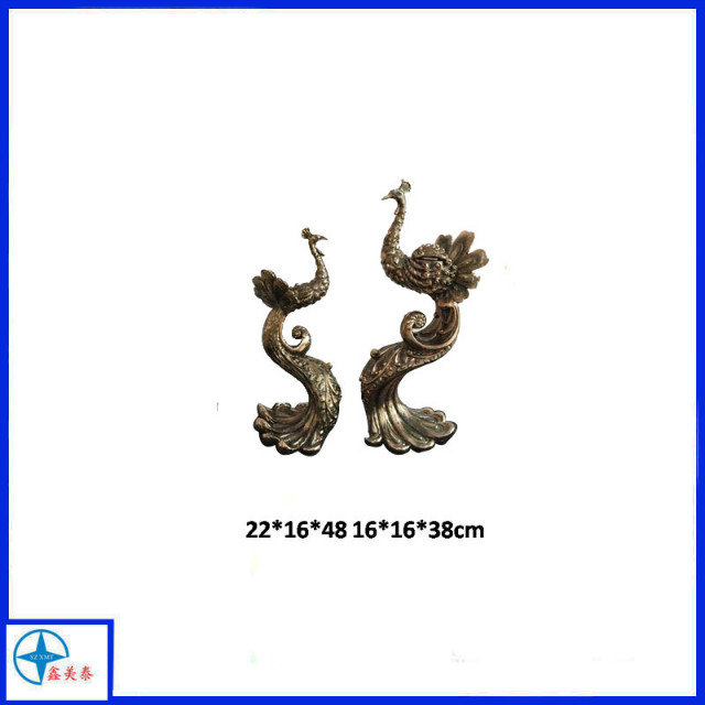 2016 top popular Metal Double peacock statue for decoration