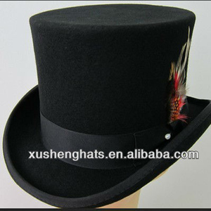 7a30ea0c5cb wholesale custom bulk 100% wool felt black men steampunk flat slash top  bowler hat for