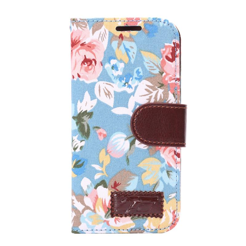 For HTC One 8 Mini One Mini 2 flower color printed cloth soft PU leather+soft TPU back cover Stand Flip wallet Style phone case