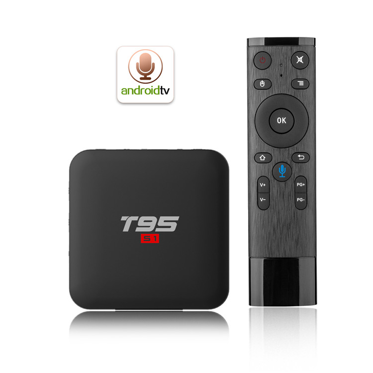 TV streaming box T95 S1 Android 7.1 OS 2G 16G shenzhen set top box voice function remote control smart media player
