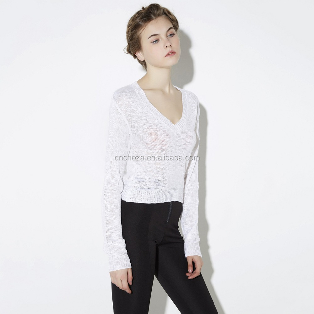 Z50930D Europe and the United States sexy deep V collar short fashion long sleeve sweater