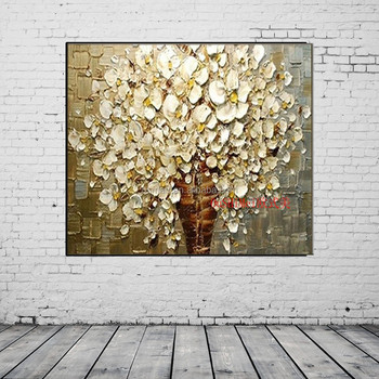 Hand Painted Abstract Tree Wall Decor Painting For Living Room Decor Gold  Flower Knife Oil Painting On Canvas - Buy Wall Decor,Wall Decor ...