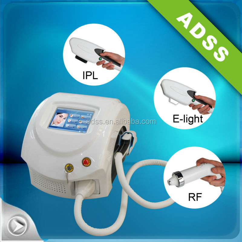 ADSS 3 handpieces multifunctional portable ipl/E light/ RF/ laser hair removal machine