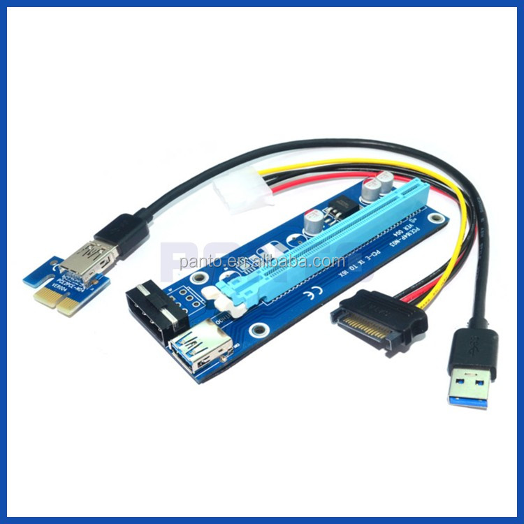 Pci-e Pci Express Riser 1x To 16x Usb 3.0 Adapter Converter Card ...