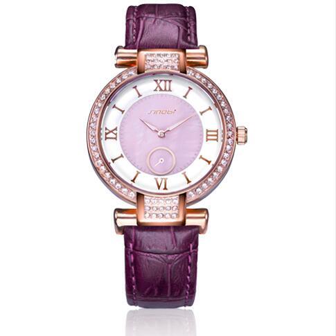 446cf9ec4fb SINOBI 8192 New Colorido Diamante Mulheres de Ouro Relógio de Strass Relógio  Pulseira de Couro Senhora