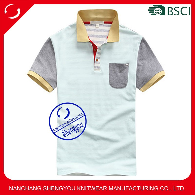 Custom mens pique jersy patched polo shirt with pocket