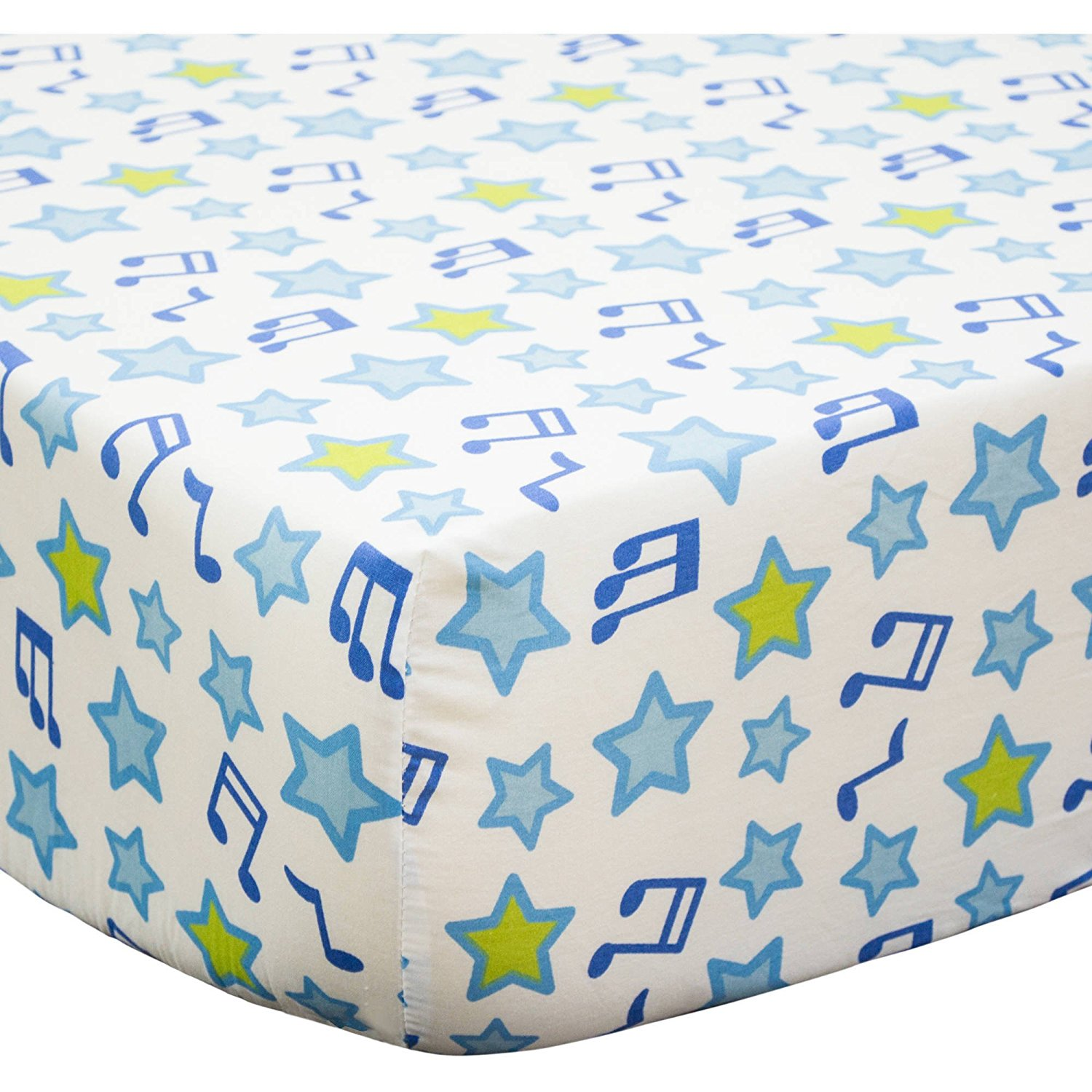 Get Quotations Lo Beautiful White Blue Green Jungle Jamboree Ed Crib Sheet Music Themed Nursery Bedding