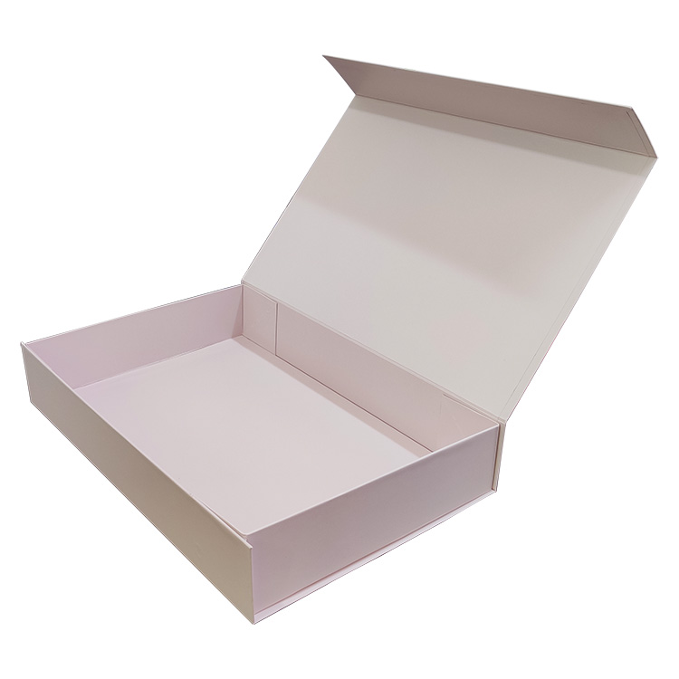 Custom Logo Printing book shape flip top 30cm rigid cardboard clothing packaging pink gift <strong>box</strong>