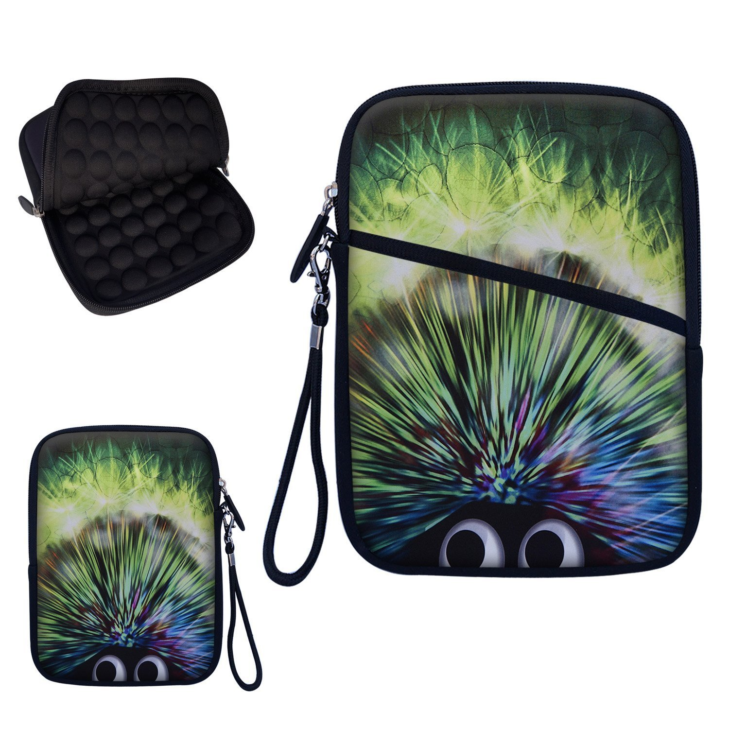"""Neoprene Super Padded Bubble Sleeve Case Cover with Removable Carrying Handle Fits Apple iPad Mini / Amazon Kindle Fire HD / Google Nexus 7 / Samsung Galaxy / Asus / Acer / Archos and Similar Size 7"""" Tablet - Cut Hedgehog Design"""