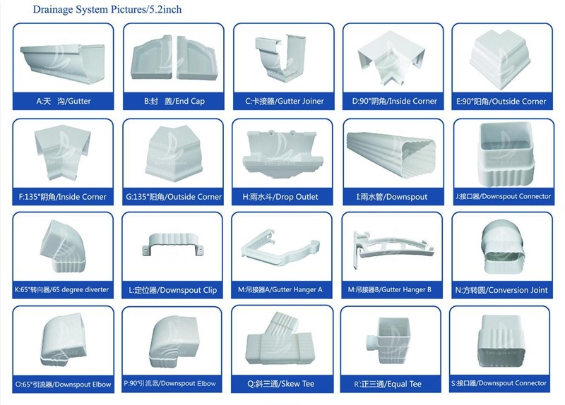 Wholesale Pvc Rain Gutter Accessories Pvc Roofing Gutter
