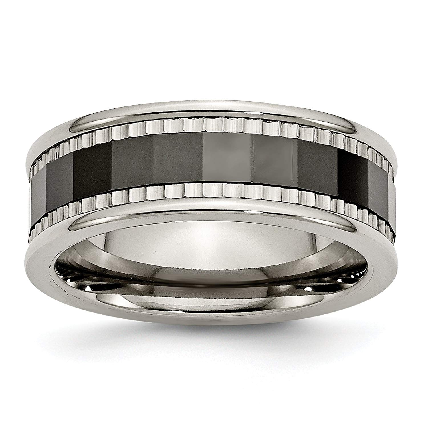 Titanium w/Sawtooth Accent/Polished Black Ceramic Center 8mm Band TB379-9<BR>Polished | Engravable | Titanium | Faceted | Ceramic