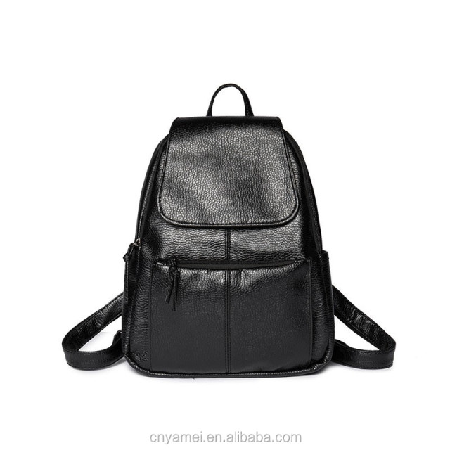 60297052f3 China Factory Customized Black PU Schoolbag Girls Leather Backpack Bags  Womens Leather Backpack