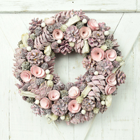 2019 new BSCI FSC handmade craft hotsale decorative foam door pink round pine wood ring wholesale flower Christmas wreath