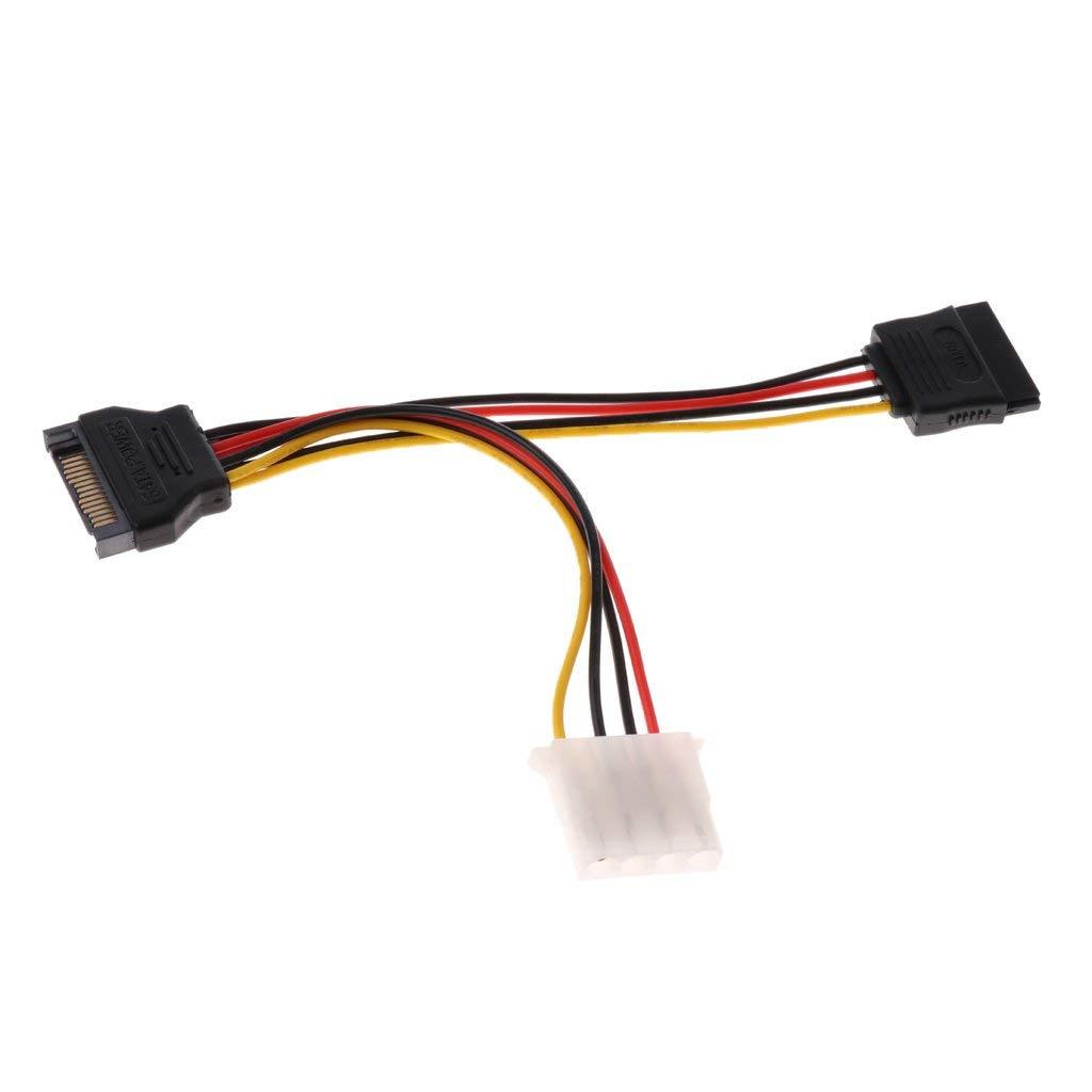 MagiDeal 15 pin SATA Male to 4 pin Molex & SATA Female Power Supply Cable Connector