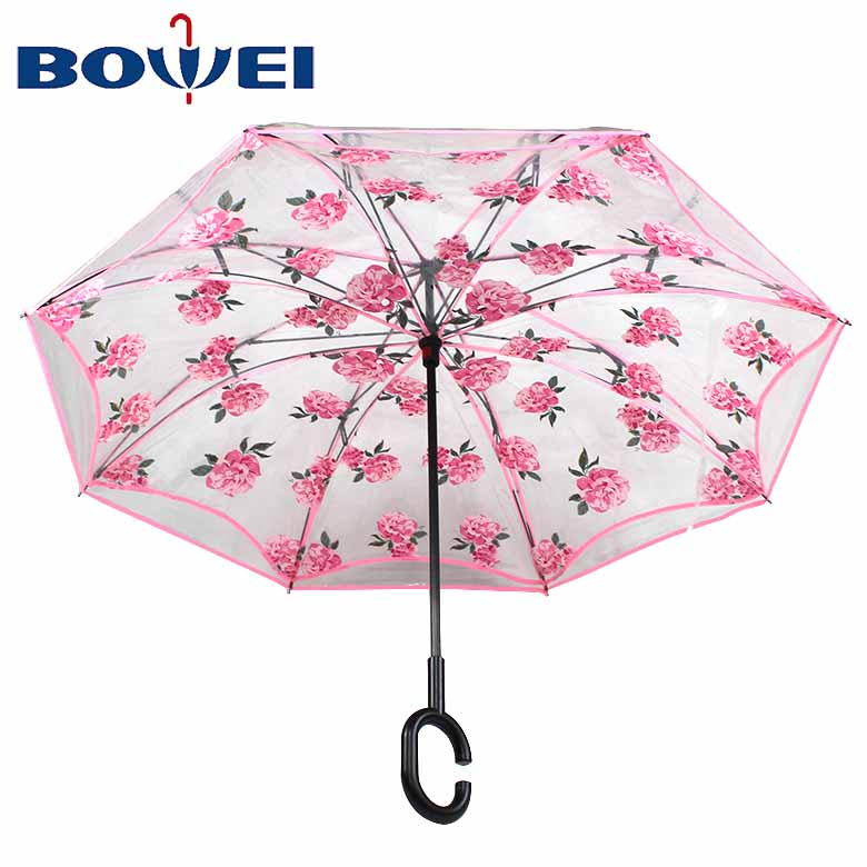 Wholesale custom logo double layer c handle inverted POE clear umbrella manufacturer China