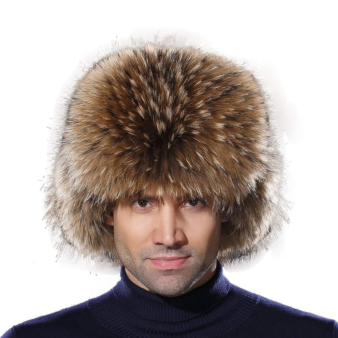 4942d1d2c05 URSFUR Winter Mens Trapper Hat Real Leather and Fox Fur Russian Ushanka Cap