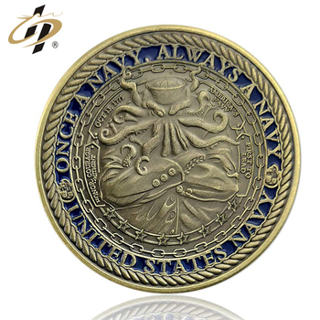Antique gold metal brass design your own soft enamel military navy souvenir coin