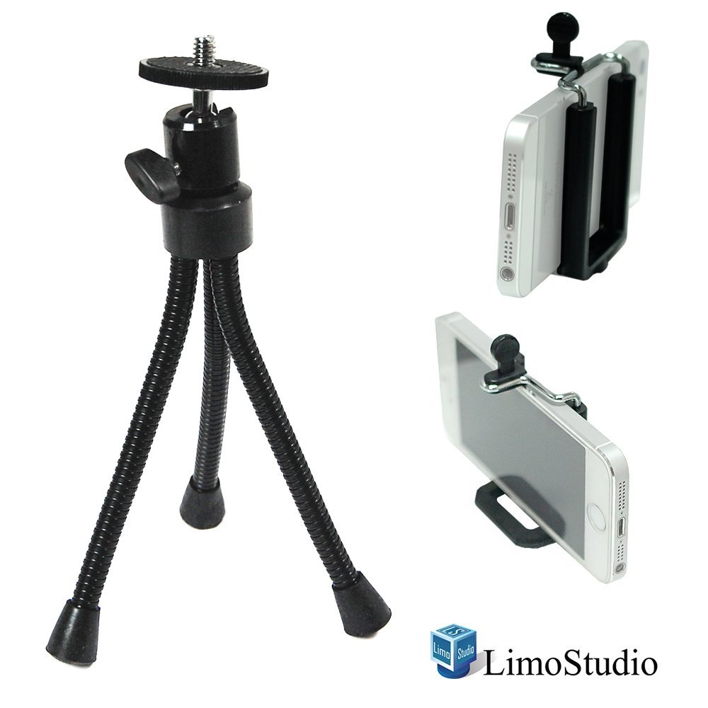 LimoStudio Cell Phone Tripod Stand Flexible Leg with Smart Phone Holder Spring Clip for Iphone, Samsung Galaxy, Any Cellphone, Light Stand Tripod with 1/4 inch Screw, Photo Studio, AGG2093