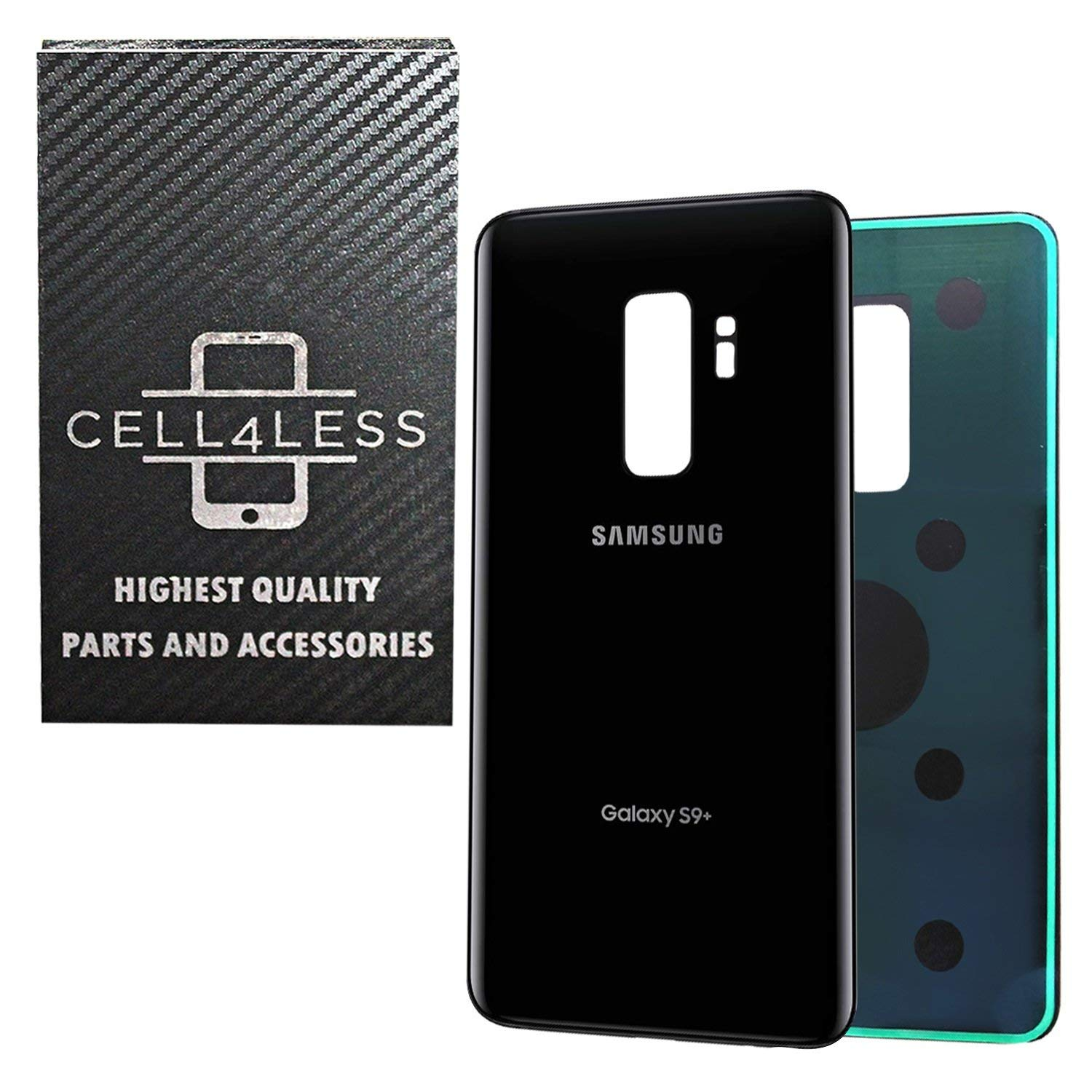 CELL4LESS Compatible Back Glass Cover Back Battery Door w/Pre-Installed Adhesive Replacement for Samsung Galaxy S9 PLUS OEM - All Models G965 All Carriers- 2 Logo - OEM Replacement (BLACK)