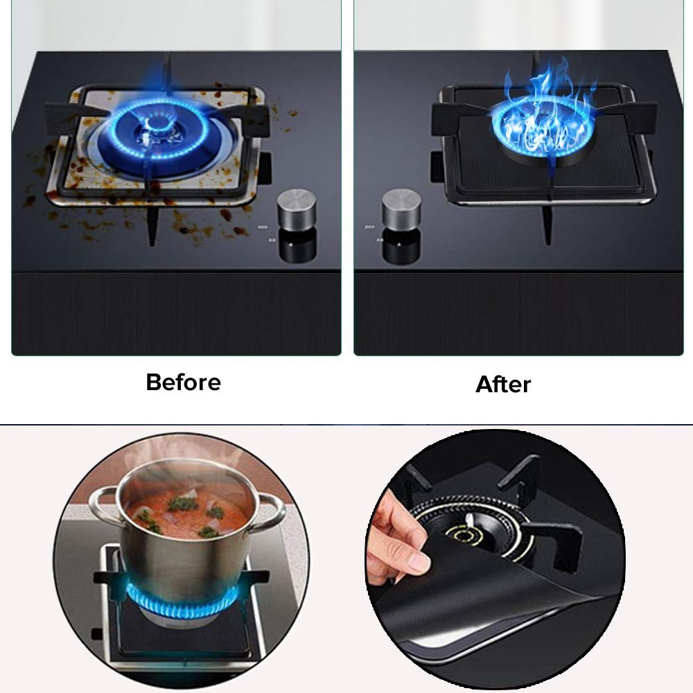 27x27cm FDA Approved Gas Stove Burner Covers Reusable Non Stick Gas Range Protector