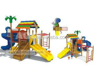 AOQI Interesting excellent quality Hot Sale Wooden Amusement with Plastic Slides