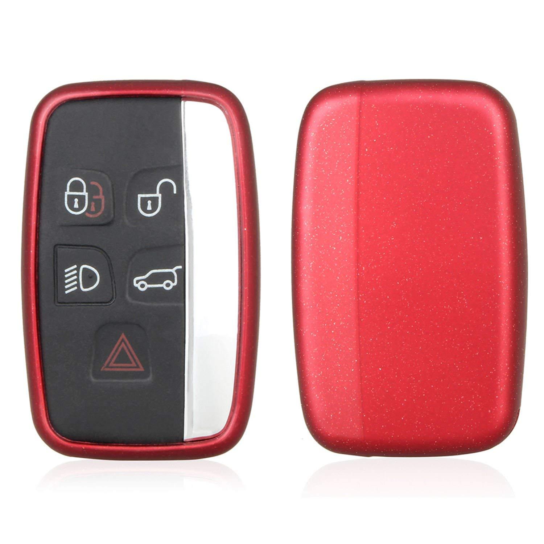 M.JVisun TPU Soft Silicone Case Cover Protector Shell For Jaguar Key Fob, Car Remote Key Fob Case For Jaguar XE Jaguar XF Jaguar XJ Jaguar F-PACE Jaguar F-TYPE Fob Remote Key With Keychain - Red