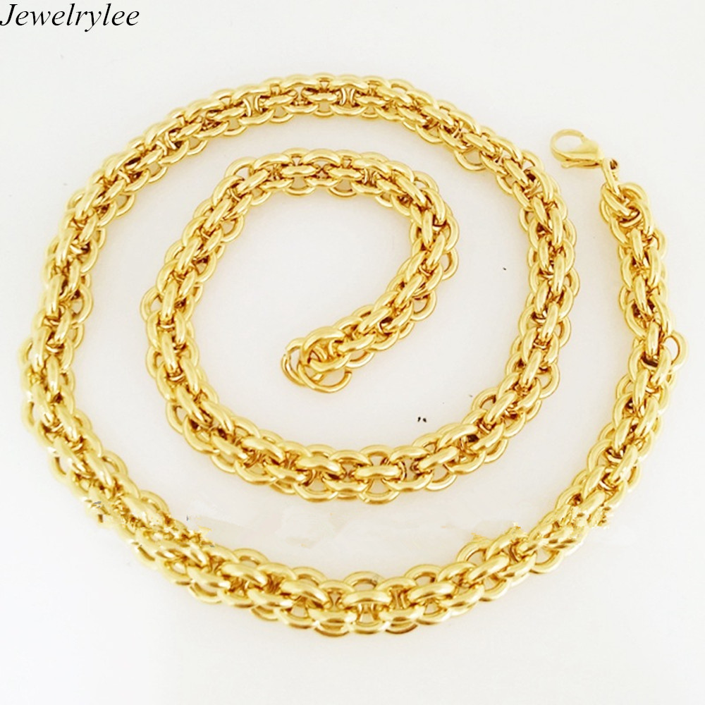 w miami link inch chain itm solid men clasp real cuban chains gold necklace